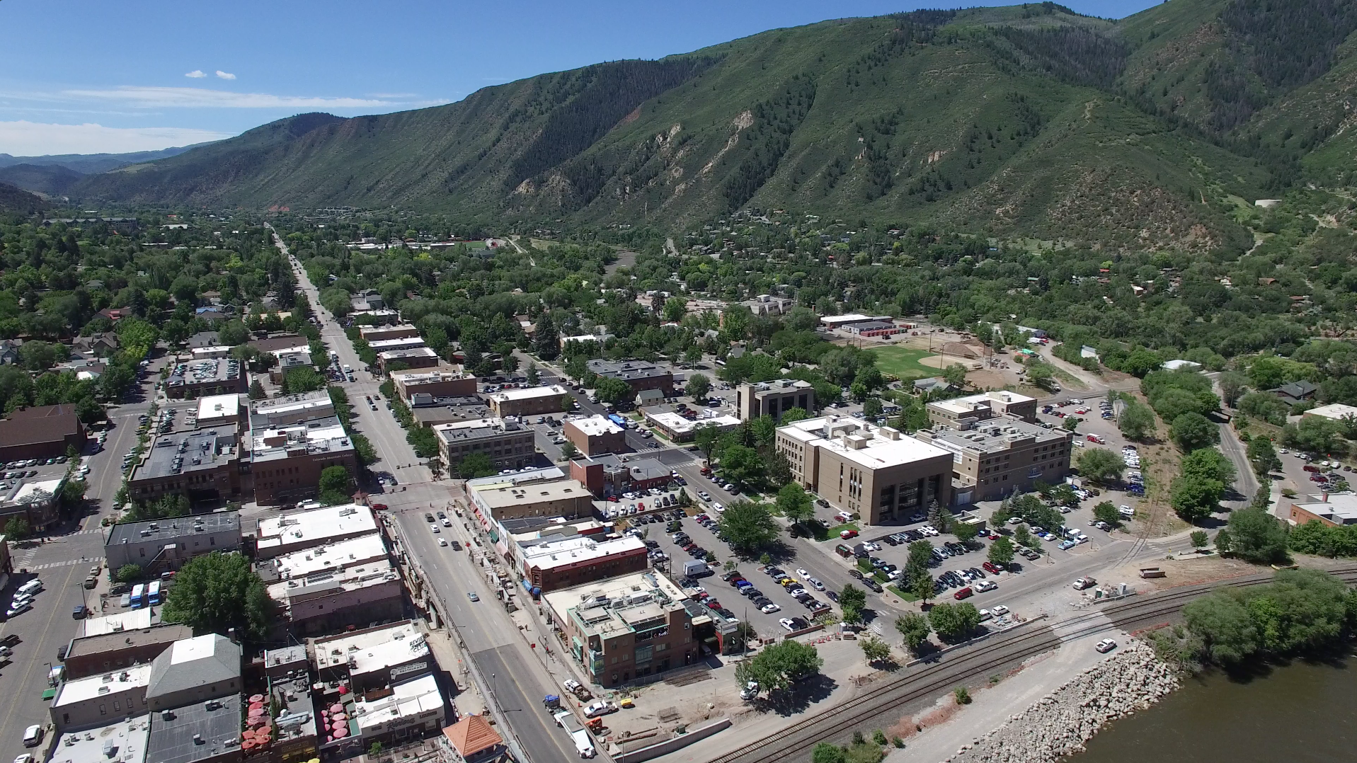 Aerial view of Glenwood Springs, Colorado